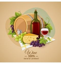 Wine And Cheese Poster vector image vector image