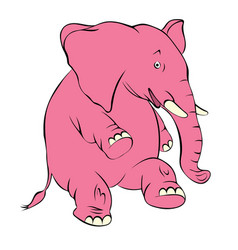 a cheerful pink elephant the elephant costs on a vector image