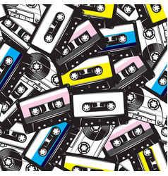 a set different audio cassettes seamless vector image
