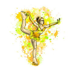abstract winter sport figure skating girl from vector image
