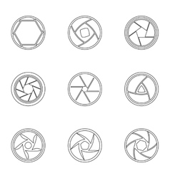 Aperture of photocamera icons set outline style vector