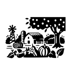 apple tree pumpkin and eggplant grow on a bed vector image