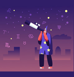 Astrologer in costume and cap watching on moon vector