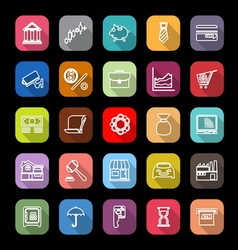 Banking and financial line icons with long shadow vector image