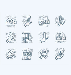banking business and finance flat icons set vector image