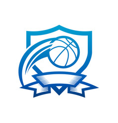 Basketball shield badge icon vector