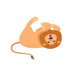 Big lion tumbling isolated on white background vector