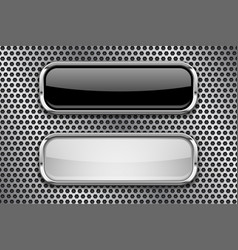 black and white glass buttons with metal frame on vector image