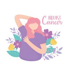breast cancer awareness woman flowers cartoon vector image