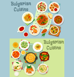 bulgarian cuisine healthy food dishes icon set vector image