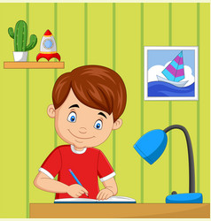 cartoon little boy studying in room vector image