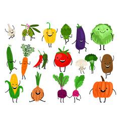 Cartoon vegetables characters vector