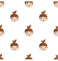 Cavechild face icon in cartoon style isolated on vector