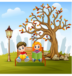 children reading a book in vector image