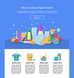 Cleaning flat icons website page template vector