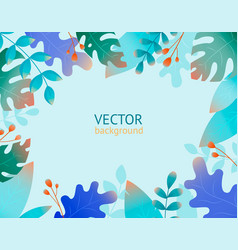 collection with plant flat jungle print template vector image