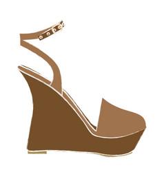 Color sketch of sandal shoe with platform sole vector