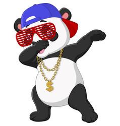 Cool panda dabbing dance wearing sunglasseshat vector