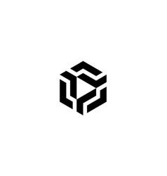 cube with play button logo design concept vector image