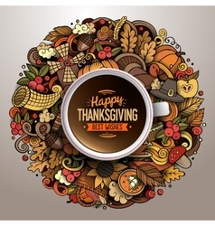 Cup of coffee with Thanksgiving doodle design vector