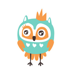 Cute cartoon owl bird with crown colorful vector