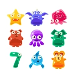Cute Jelly Creatures Set vector