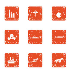 Deprivation icons set grunge style vector