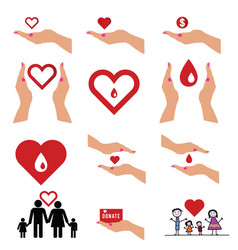 donate icon set with symbol in colorful vector image