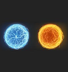Electric balls blue and orange plasma spheres vector