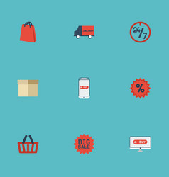 Flat icons case bag percentage and other vector