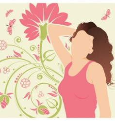Floral background with girl vector