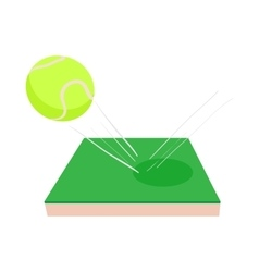 Flying tennis ball on a green court icon vector