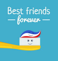 funny toothpaste and toothbrush friends vector image