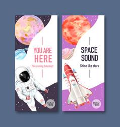 Galaxy flyer design with rocket saturn astronaut vector
