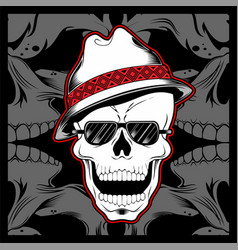 gangster skull wearing fedora hat hand drawing vector image