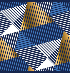 geometric gold and blue luxury seamless pattern vector image