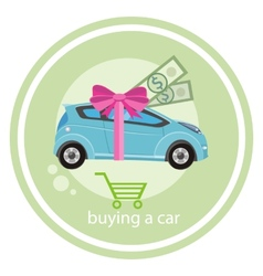 Gift car and red ribbon vector