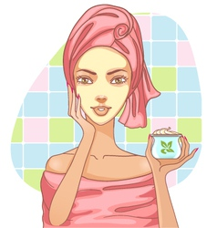 Girl applying cream in the bath vector image