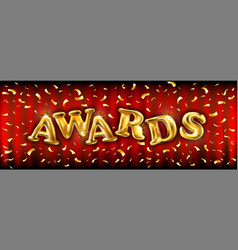Golden shiny awards sign with laurel wreath vector