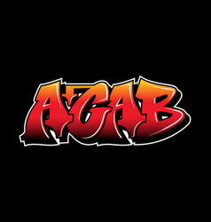 Graffiti decorative inscription acab lettering vector