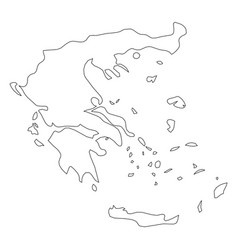 greece - solid black outline border map of country vector image