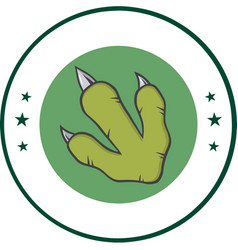 Green dinosaur paw with claws vector
