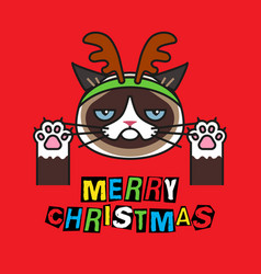 grumpy cat in costume christmas deer on red vector image