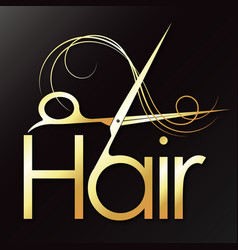hair golden scissors symbol for a beauty salon vector image