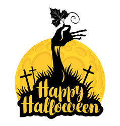 Halloween lettering with zombie hand on cemetery vector