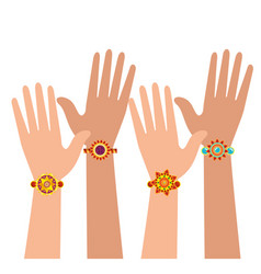 Hands with bohemian style bracelets vector