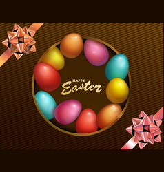 Happy easter holiday with colored egg dark box vector