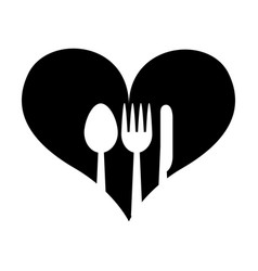 Heart with set cutlery vector