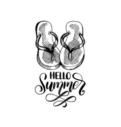 hello summer hand lettering inspirational vector image