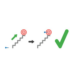 icon concept of bulls eye on top of stairs and vector image